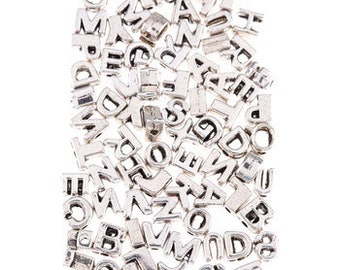 Letter Beads Alphabet Beads Silver Letter Beads Silver Alphabet Beads Wholesale Beads Bulk Beads 74 pieces 5mm