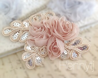 "NEW: ""BEIGE nude"" Chiffon and Sequins Leaf Polyester Fabric Rose Appliques. Hair accessories"