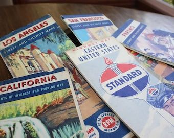 Vintage 1950's Gas Company Travel Maps collection of 5