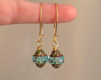 Aqua Czech Glass Bead Earrings, Boho Earrings, Vintage Style Glass Earrings