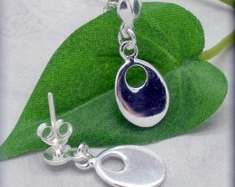 Silver Oval Earrings, Stud Earrings, Post Earrings, Sterling Silver, Everyday Jewelry, Minimalist, Drop, Classic
