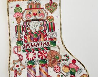 "Cross stitched ""Nutcracker"" stocking"