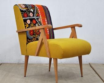 Wooden Armchair -  yellow love