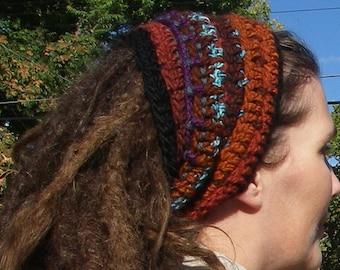 SALE Wool Crochet Tube Headband Dreadband Headband Cowl Earwarmer Fall Colors Beaded Tie Dreadwrap Earthy Orange Black Purple Brown Blue