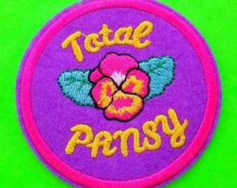 Total Pansy Purple and Pink Flower Geek Pride Nerdarific Punk Power Embroidered Iron or Sew On Patch