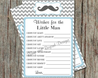 INSTANT DOWNLOAD Little Man Mustache Wishes for Baby Printable Boy Baby Shower Game Powder Blue Grey diy Dear Baby Boy Mustache Bash 024