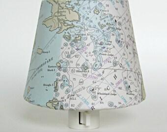 Night Light, Beach Decor, Deer Island Maine Chart, Nautical Decor, Bedroom Decor, Nautical Lighting, Nautical Chart Map Vintage Reproduction