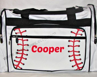 """Personalized 20"""" Duffle Duffel Gym Dance Gymnastics Overnight Bag - Baseball White Red and Black Trim - MONOGRAMMED FREE - By Girliebows"""