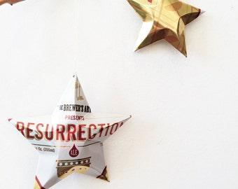 Resurrection Beer Stars Gift Toppers Ornaments Aluminum Can Upcycled, The Brewer's Art Maryland Beer