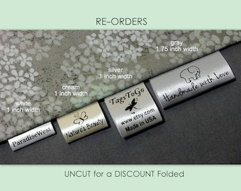 500 (+20 Free) UNCUT for a DISCOUNT Folded Style Custom Satin Clothing Labels for Returning Customers Only ~ TagsToGo