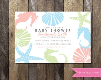 Under the Sea Baby Shower Invitation, Baby Shower Invitation, Ocean Baby Shower, Nautical Baby Shower, Starfish Baby Shower, Printable