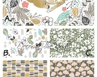 Girl Crib Bedding | Fawn In Autumn | Customized Crib Bedding | Made to Order | DTN