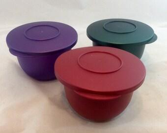 Vintage Tupperware Jewel Impressions Small Bowls and Lids 6 Piece, Vintage Tupperware Graduated Bowls