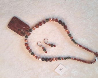 Red Creek Jasper Pendant with Matching Earrings