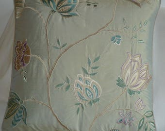 Celadon embroidered Silk Pillow cover