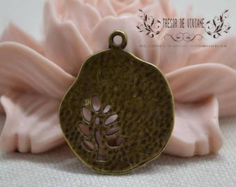 Set of 10 QZW006 charms, Bronze, tree