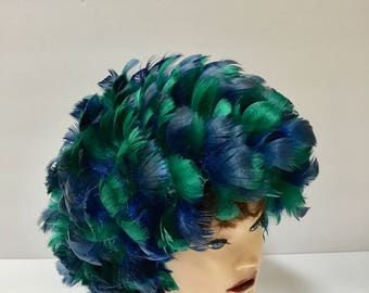 Vintage Blue& Green Feather Hat / Feather Cap / 1960's / Mod / Abstract / Mid Century / Festival Hat / Avant-garde