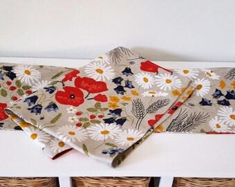 Handmade Wild Meadow Flowers Tea Towels Kitchen Towels Dish Towels.