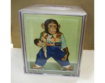 retro monkey tissue box cover vintage 1950s cartoon chimp animal kitsch