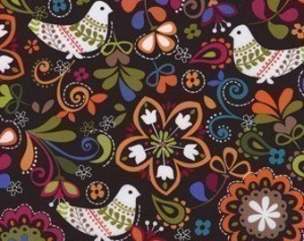 Michael Miller Birds of Norway Espresso Cotton Fabric - REMNANT Size 27 Inches by 44 Inches