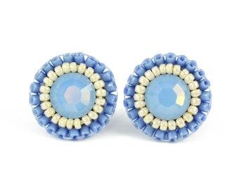 Blue stud earrings | pastel blue earrings | spring summer pastel jewelry | unique dainty stud earrings | casual classic boho earrings gift
