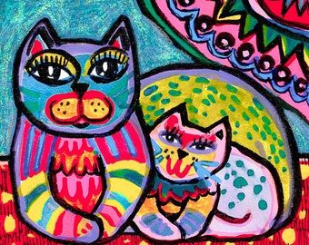 Cat And Baby, Cat Print, Cat Art, Mother Cat, Folk Art, Yellow, Pink, Blue, Nursery Decor, Girls Room, Mother's Love by Paula DiLeo_82515
