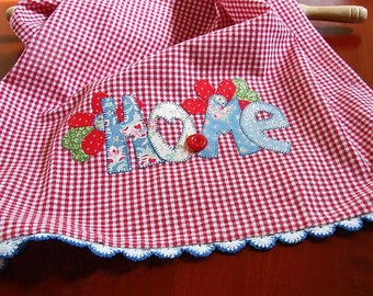 Home Kitchen Towel | Appliqued HOME Kitchen Towel | Vintage Button & Lace | Red White Check Tea Towel | Farmhouse Decor | Hostess Gift