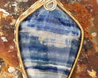 Turkish Lapis Lace Onyx wire wrapped mixed metal pendant 76mm by 35mm