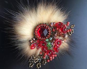 Elegant Mink Fur Czech Glass Beads Brooch. Red Brooch.