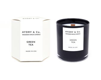 Green Tea Wooden Wick Candle
