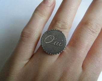 """Silver ring """"Yes"""""""