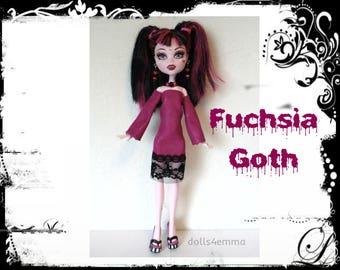 Monster High Doll Clothes - FUCHSIA GOTH Dress and Jewelry Set - Handmade Fashion by dolls4emma