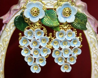 Victorian Rococo Hand Painted Magical Blooming Flowers Crystal Unusual Studs Earrings