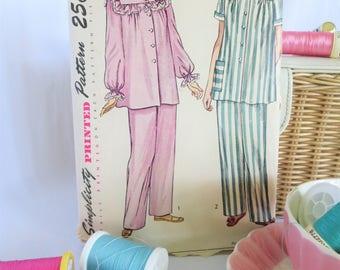 Vintage Pajama Pattern, Pajama Pattern, Vintage Pattern, Simplicity 2598, Sleep Set Pattern, Simplicity, PJs, Sleepwear, Lounge, Pants, Top