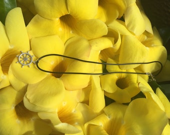 Large Silver Nautical Wheel necklace
