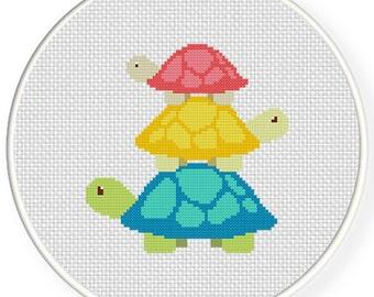 Turtle Tower PDF Cross Stitch Pattern - Instant Download - Modern Chart