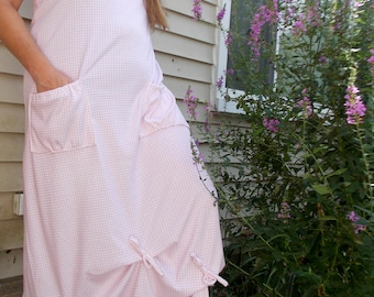 Gathered Gingham Pocket Dress Floral Vest Set Sz. M/L Medium Large Womens Handmade Clothing Summer Layering Pink White