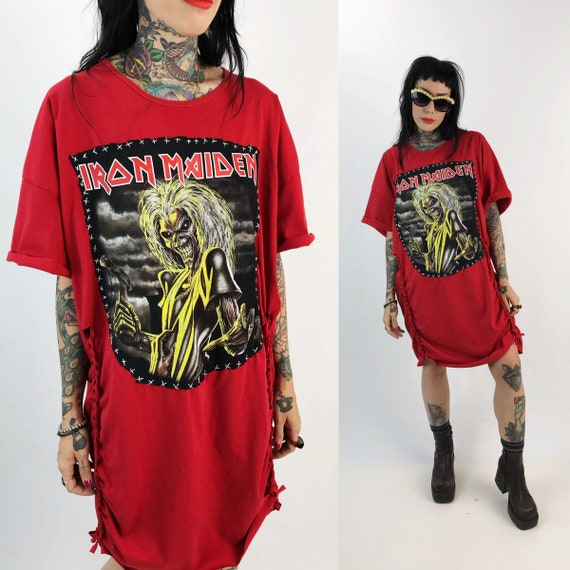 Iron Maiden T-shirt Dress - Hand Stitched Remade Metal Band Tee Upcycled Grunge Clothing Red Black Braided T-shirt Vintage Grunge Goth Dress