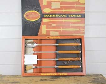 Vintage Cheftender Barbecue Tool Set, Four 4 Pieces, Original Box Design Gene Vandergrift, Stainless Steel, Styled California, Mid Century
