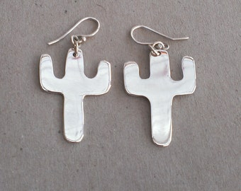 Sterling Silver Suguaro cacti earrings - Made to Order