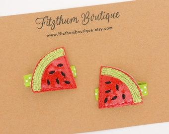 Watermelon hair clips - Watermelon clips - Glitter watermelon hair clips - Watermelon birthday hair clips - Watermelon headband