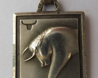 Vintage French Silver Taurus the Bull Zodiac Sign Pendant.