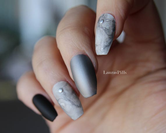 Matte black and marble silver coffin shaped false nails