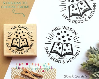 Personalized Teacher Book Stamp, From the Library of Stamp, Teacher Stamps