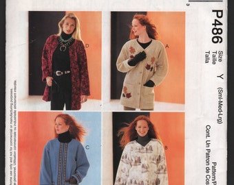 McCall's P486 UNCUT PolarGear Misses oversized unlined jackets sewing pattern ID628