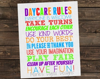 Daycare Rules Wall Art - Printable INSTANT DOWNLOAD 8x10