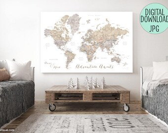 Custom canvas map etsy printable push pin map custom quote printable file for world map canvas print gumiabroncs Image collections