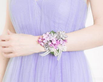 Wrist Corsage - Lilac & Silver Corsage, Purple Corsage, Silver Flower Corsage - Wedding Corsage