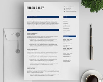 Professional Resume Template | Modern Resume Template for Word | Instant Download | Resume Template 3 Pages | Mac & PC | Cover Letter
