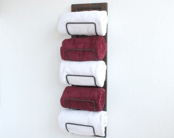 Rustic Hand Towel Rack | Towel Holder | Wood Towel Rack | Towel Hanger | Bathroom Storage Organizer | Housewarming Gift